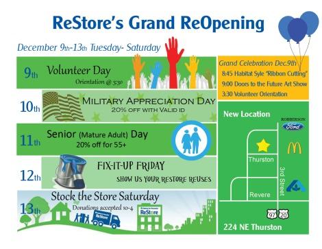 ReStore Grand Re-opening Schedule