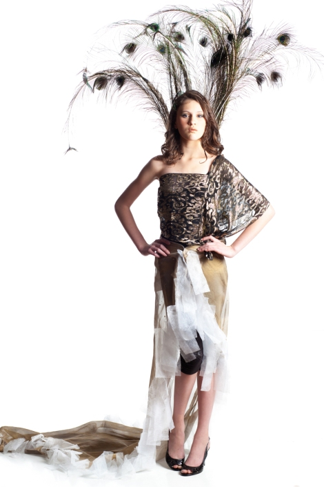Designers: Katie & Rachel Materials: Old scarf, curtain, drawer sheets & peacock feathers