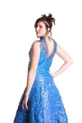 Designer: Karen Holm Materials: Old Blue Tarps Model: Marley Weedman
