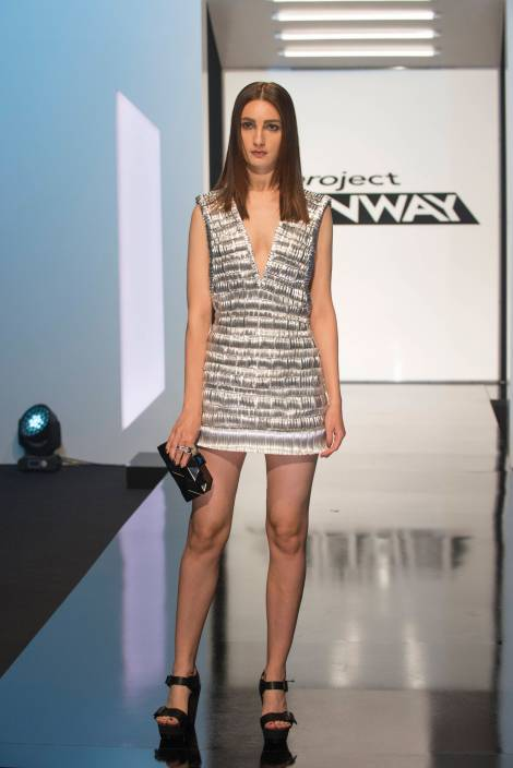 The winning design.  Kelly Dempsey creates this textured dress with small pieces of metal ducting.
