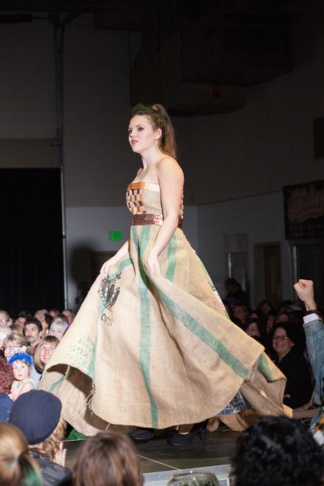STRICTLY ORGANIC Designer: Denali Materials: Coffee Bags - burlap, paper, foil