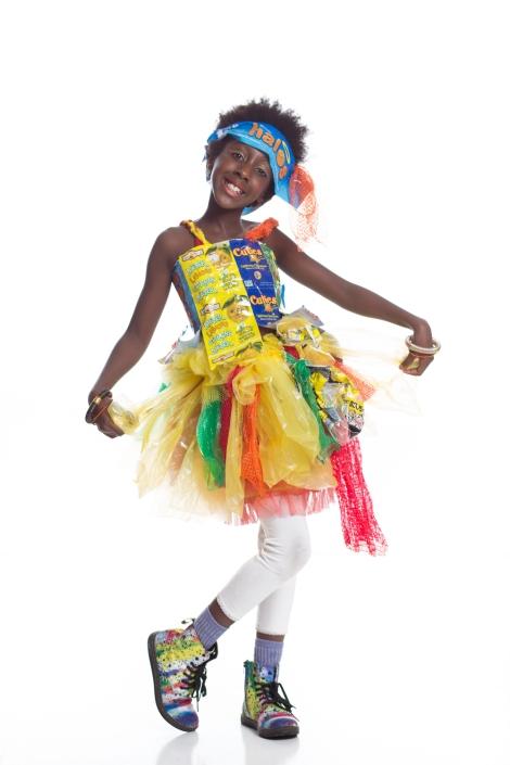 Fruity Tutui Designer/Model: Fiona Wright Material: fruit bags and netting, potato sacks, newspaper bags, flour sacks