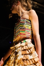 Materials: used tea bags, used tea holders, used tea strings, old fabric, glue